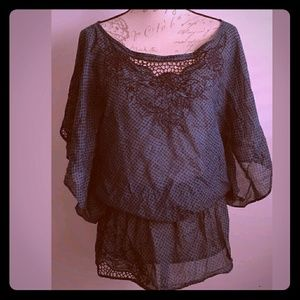Free People Blouse green black floral Boho